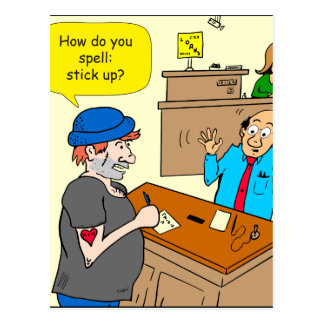 916 stick up at the bank cartoon postcard