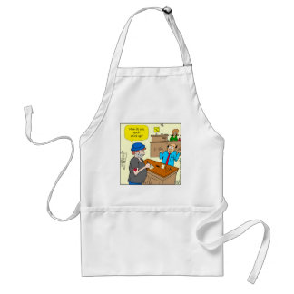 916 stick up at the bank cartoon standard apron