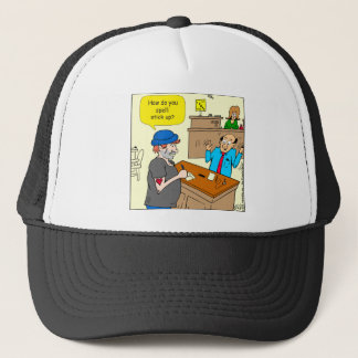 916 stick up at the bank cartoon trucker hat