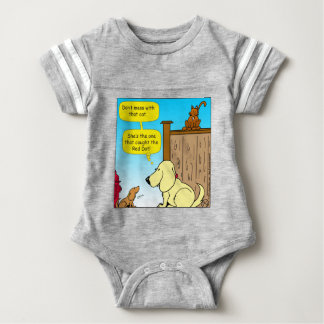918 The cat that caught the red dot cartoon Baby Bodysuit