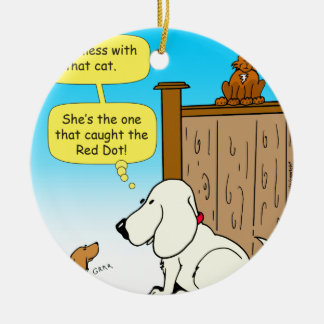 918 The cat that caught the red dot cartoon Ceramic Ornament
