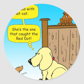 918 The cat that caught the red dot cartoon Classic Round Sticker