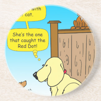 918 The cat that caught the red dot cartoon Coaster