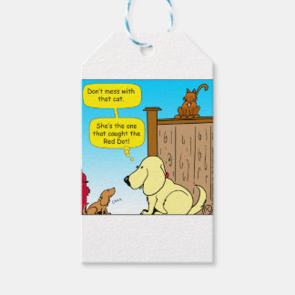918 The cat that caught the red dot cartoon Gift Tags