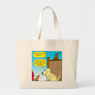 918 The cat that caught the red dot cartoon Large Tote Bag