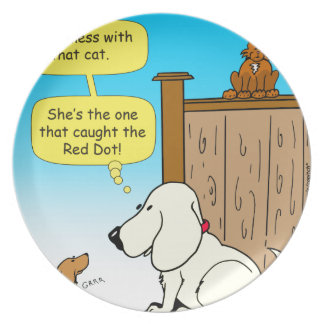 918 The cat that caught the red dot cartoon Plate