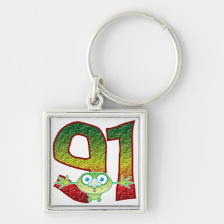 91 Age Ghoul Silver-Colored Square Key Ring