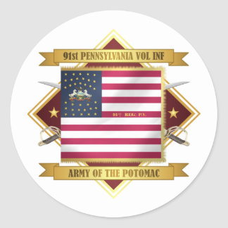 91 PA Infantry Classic Round Sticker
