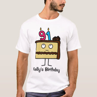 91st Birthday Cake with Candles T-Shirt