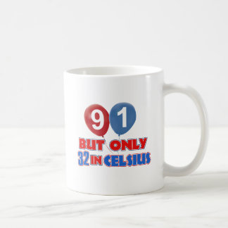 91st year birthday designs basic white mug