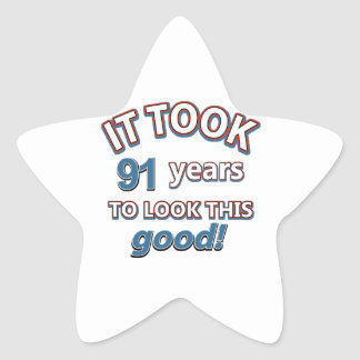 91st year birthday designs sticker