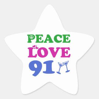 91th birthday designs star stickers
