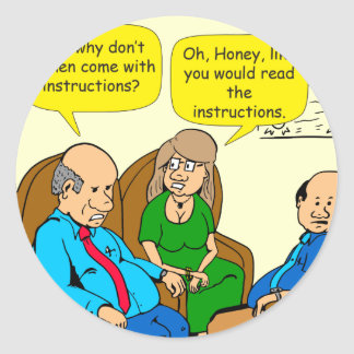 923 read the instructions couples cartoon classic round sticker