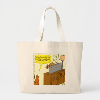 929 thin TV and cat cartoon Large Tote Bag