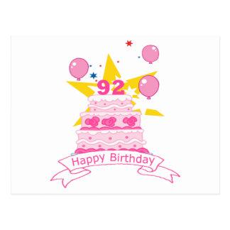 92 Year Old Birthday Cake Postcard