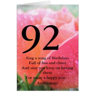 92nd Birthday Card