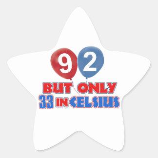 92nd birthday designs star sticker