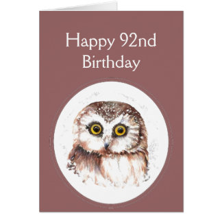 92nd Birthday Who Loves You, Cute Owl Humour Greeting Card