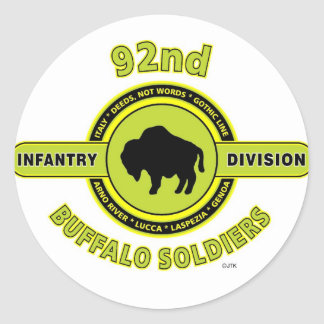 """92nd Infantry Division """"Buffalo Soldiers"""" WW II Classic Round Sticker"""