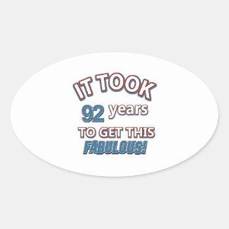 92nd year birthday designs oval sticker