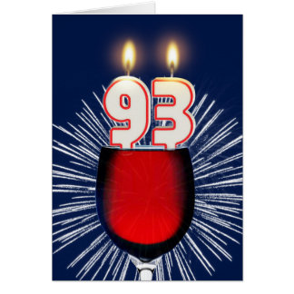 93rd Birthday with wine and candles Card