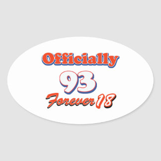 93rd year birthday party oval sticker
