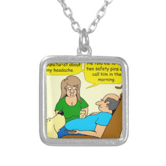 944 take two safety pins cartoon silver plated necklace
