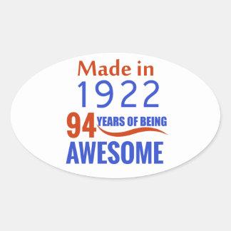 94 birthday design oval sticker