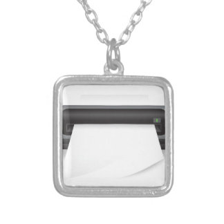 94Portable Scanner _rasterized Silver Plated Necklace
