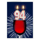 94th Birthday with wine and candles Card