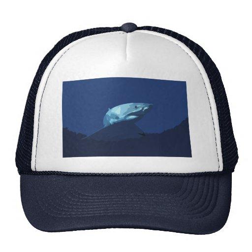 952 DARK BLUE PIXEL GREAT WHITE SHARK SEA CREATURE TRUCKER HAT