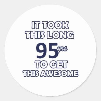 95 birthday design classic round sticker