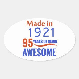 95 birthday design oval sticker