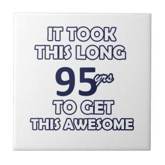 95 birthday design small square tile
