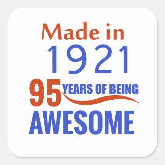 95 birthday design square sticker