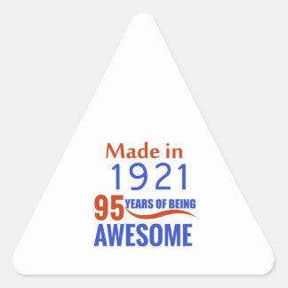95 birthday design triangle sticker
