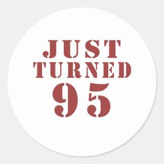 95 Just Turned Birthday Classic Round Sticker