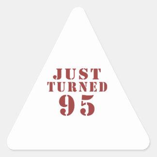 95 Just Turned Birthday Triangle Sticker