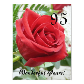 "95 Wonderful Years!-Birthday Celebration 4.25"" X 5.5"" Invitation Card"