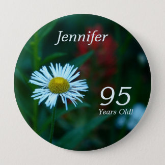 95 Years Old, White Daisy WildFlower Button Pin
