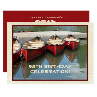 95th Birthday Celebration Invitation, Red Canoes Card