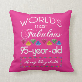 95th Birthday Most Fabulous Colorful Gems Pink Cushion