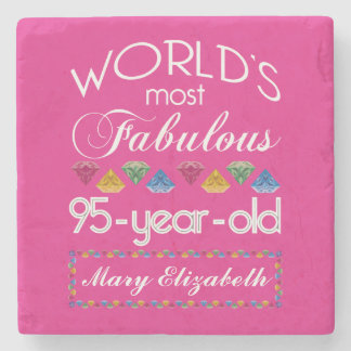 95th Birthday Most Fabulous Colorful Gems Pink Stone Beverage Coaster