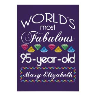95th Birthday Most Fabulous Colorful Gems Purple 13 Cm X 18 Cm Invitation Card