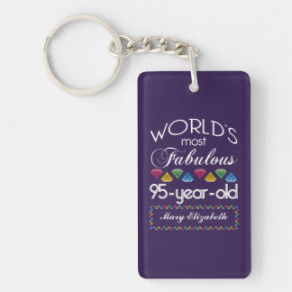 95th Birthday Most Fabulous Colorful Gems Purple Double-Sided Rectangular Acrylic Key Ring
