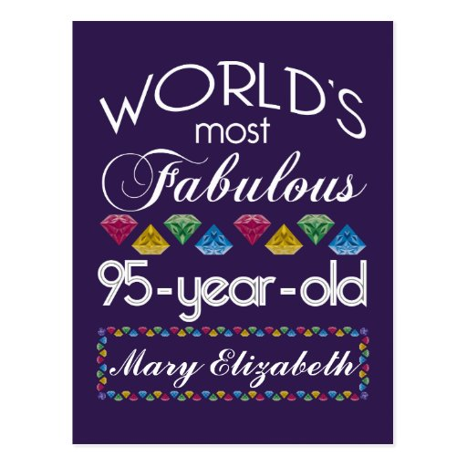 95th Birthday Most Fabulous Colorful Gems Purple Post Cards