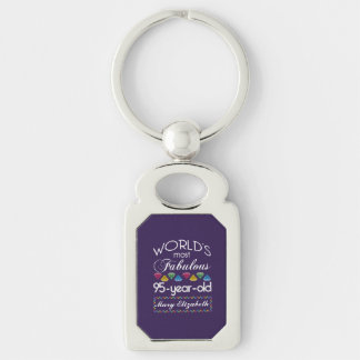95th Birthday Most Fabulous Colorful Gems Purple Silver-Colored Rectangle Key Ring