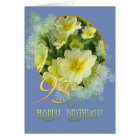 95th Birthday Primroses and blue Card