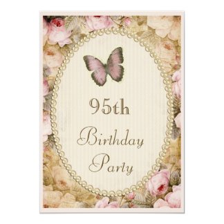 95th Birthday Vintage Roses Butterfly, Music Notes Card