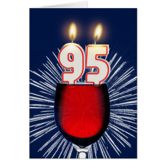 95th Birthday with wine and candles Card